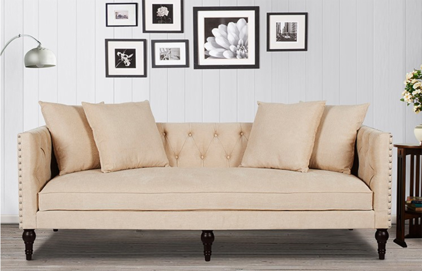 fabric wooden chesterfield sofa beige comfychest161