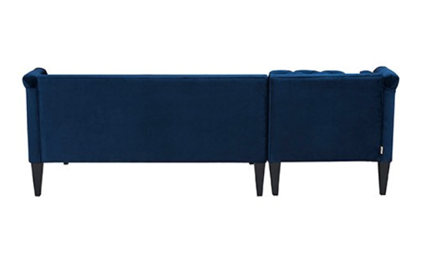 Fabric Left Corner Wooden Sofa Navy Blue Comfychest178