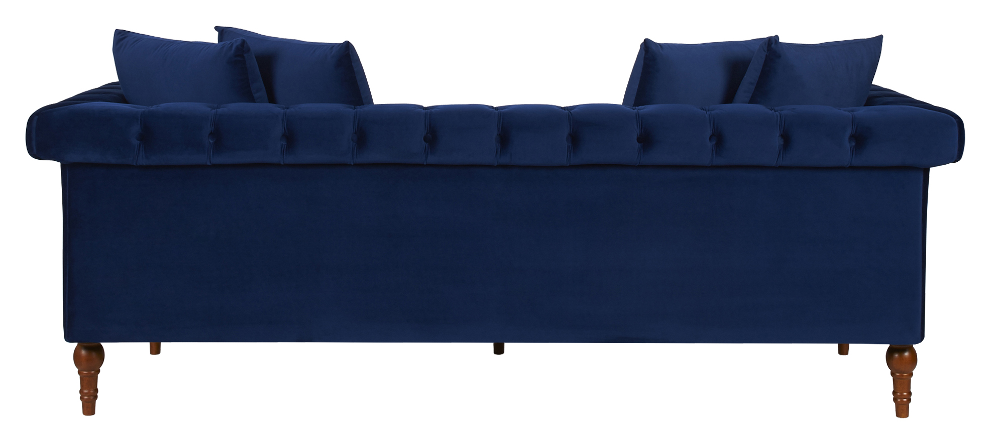 Fabric Wooden Chesterfield Sofa Navy Blue