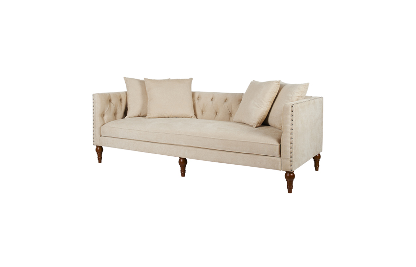 Sofas / Chesterfield Sofa / Chenille Fabric Wooden Chesterfield Sofa